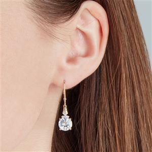 Lehrer KaleidosCut White Quartz, Ceylon Sapphire & Diamond 10K Gold Earrings ATGW 3.04cts