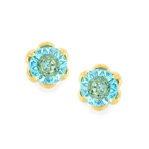 1.60ct Lehrer QuasarCut Swiss Blue Topaz 10K Gold Earrings