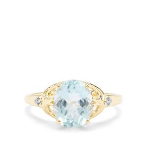 Madagascan Aquamarine & White Diamond 9K Gold Ring ATGW 2.31cts