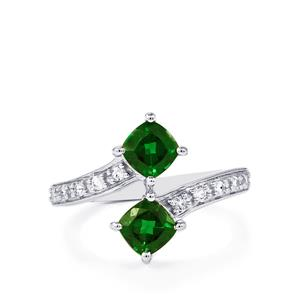 Chrome Diopside Ring with White Topaz in Sterling Silver 1.35cts