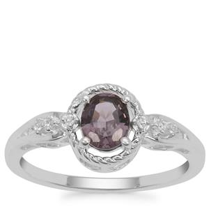 Burmese Spinel Ring with White Zircon in Sterling Silver 0.84ct