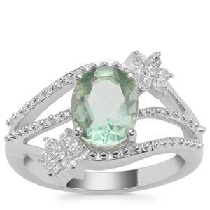 Tucson Green Flourite & White Zircon Sterling Silver Ring ATGW 2.52cts