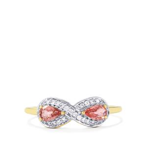 Padparadscha Sapphire Ring with White Zircon in 9K Gold 0.76ct