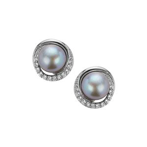 Kaori Cultured Pearl Earrings with White Topaz in Sterling Silver (9mm)