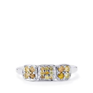 Natural Fancy Diamond Ring in Sterling Silver 0.36ct
