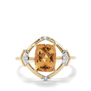 Mansa Beryl & White Zircon 9K Gold Ring ATGW 1.97cts