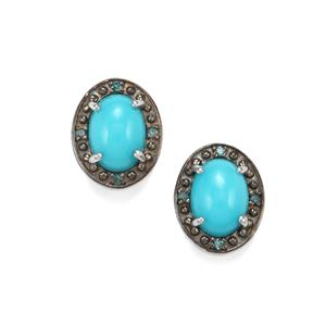 Sleeping Beauty Turquoise & Blue Diamond Platinum Plated Sterling Silver Earrings ATGW 1.55cts