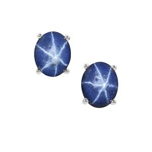 Madagascan Blue Star Sapphire Earrings in Sterling Silver 8.73cts