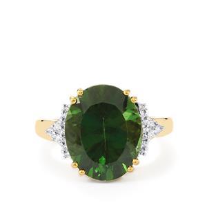 Green Apatite & Diamond 14K Gold Tomas Rae Ring ATGW 9.17cts