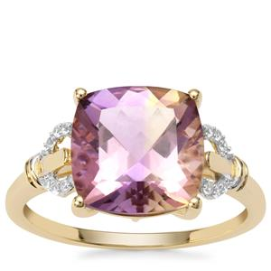 Anahi Ametrine Ring with White Zircon in 9K Gold 3.85cts