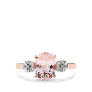 Nigerian Morganite & Diamond 9K Rose Gold Ring ATGW 1.71cts