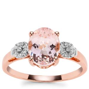 Nigerian Morganite Ring with Diamond in 9K Rose Gold 1.71cts