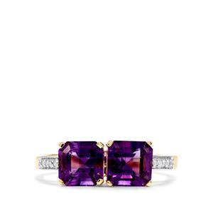 Asscher Cut Moroccan Amethyst & Diamond 9K Gold Ring ATGW 2.11cts