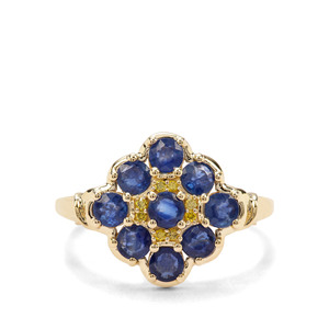 Sant Sapphire & Yellow Diamond 9K Gold Ring ATGW 1.61cts