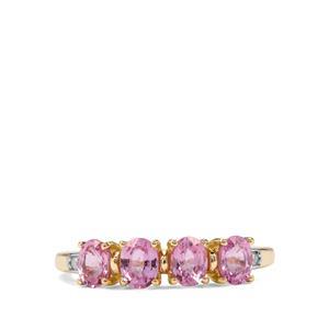 Sakaraha Pink Sapphire & Diamond 9K Gold Ring ATGW 1.27cts