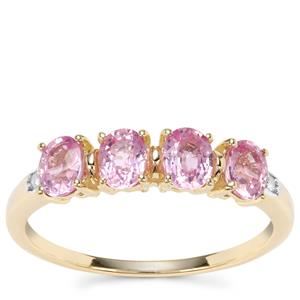 Sakaraha Pink Sapphire Ring with Diamond in 9K Gold 1.27cts