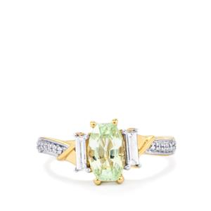 Paraiba Tourmaline Ring with Diamond in 18K Gold 1.72cts