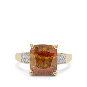 Sphalerite Ring with Diamond in 18K Gold 7.52cts