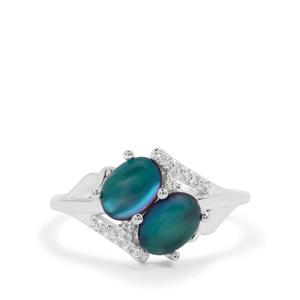 Blue Moonstone Ring with White Zircon in Sterling Silver 1.98cts