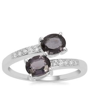 Burmese Spinel Ring with White Zircon in Sterling Silver 1.70cts