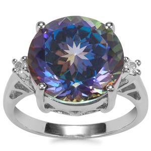 Mystic Blue Topaz Ring with White Topaz in Sterling Silver 9.81cts