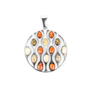 Baltic Cognac, Champagne & Green Amber Sterling Silver Pendant (6x4mm)