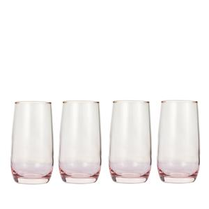 Tall Ombre Glass Tumbler Set of Four with Gold Rim in Multiple Colours