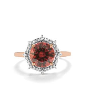 Zanzibar Zircon Ring with Diamond in 18K Gold 4.28cts