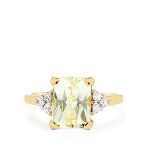 Green Kunzite & White Zircon 9K Gold Ring ATGW 3.87cts