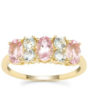 Cherry Blossom™ Morganite Ring with Aquaiba™ Beryl in 9K Gold 1.58cts