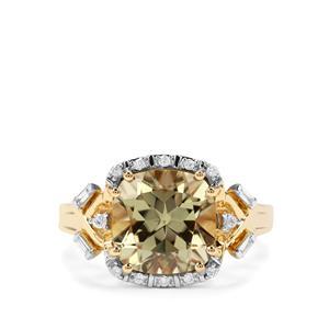 Csarite® & Diamond 18K Gold Lorique Ring MTGW 4.86cts