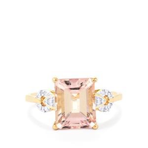 Minas Gerais Kunzite Ring with Diamond in 10K Gold 3.90cts