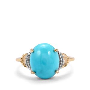 Sleeping Beauty Turquoise Ring with Diamond in 9K Gold 3.76cts