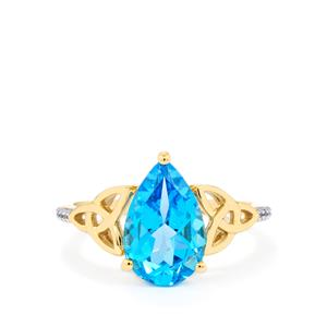 Swiss Blue Topaz Ring with White Zircon in 9K Gold 3.45cts