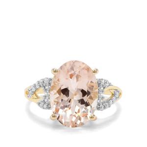 Rose Danburite & White Zircon 9K Gold Ring ATGW 6.21cts