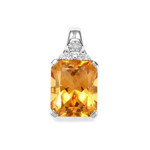 Diamantina Citrine & White Topaz Sterling Silver Pendant ATGW 5.65cts