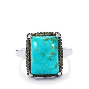 Cochise Turquoise, Green Diamond & White Zircon Sterling Silver Ring ATGW 6.32cts