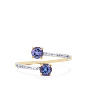 AA Tanzanite Ring with White Zircon in 10K Gold 0.73cts