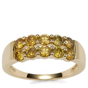 Yellow Diamond Ring in 10K Gold 1.05ct
