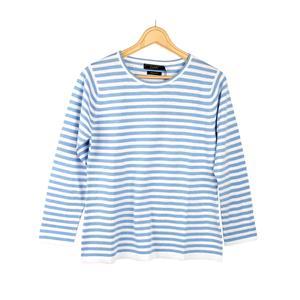 Daryl by Destello 100% Cotton Destello Mandy Knitwear (Crew Neck Stripe Pullover) (Sky)