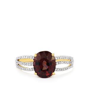 Colour Change Garnet & Diamond 18K Gold Tomas Rae Ring MTGW 3.77cts