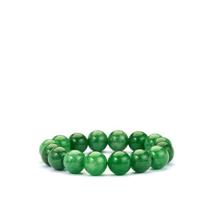 243.50ct Burmese Green Jade Stretchable Bracelet