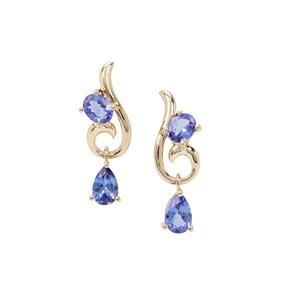 AAA Tanzanite Earrings in 9K Gold 1.48cts