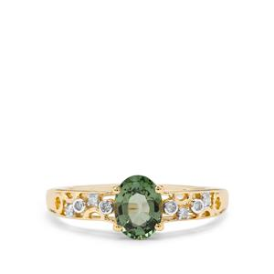 Green Sapphire & Diamond 9K Gold Ring ATGW 1.09cts