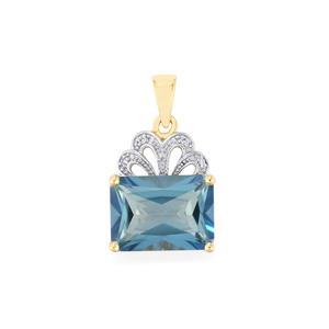 Santa Maria Topaz Pendant with Diamond in 9K Gold 8.81cts