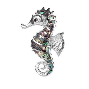 Paua Seahorse Pendant  in Sterling Silver
