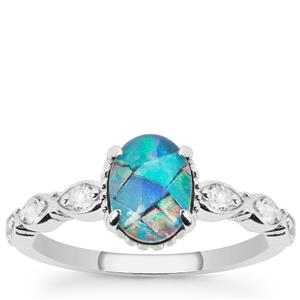 Mosaic Opal Ring with White Topaz in Sterling Silver
