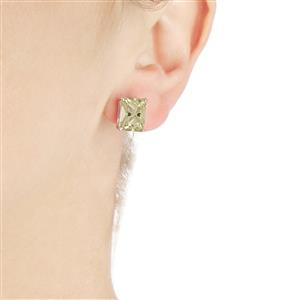7.90ct Green Kunzite 10K White Gold Earrings