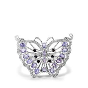 Tanzanite & Thai Sapphire Sterling Silver Butterfly Ring ATGW 2.51cts