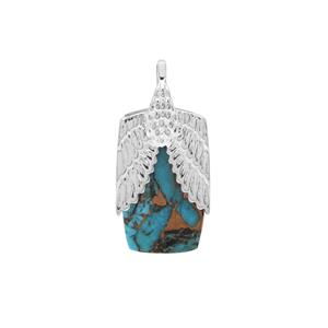 Copper Turquoise Pendant in Sterling Silver 14.50cts